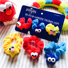 Sesame Street Elmo Monster Hair Hoop Hair Accessories Hair Rope Plush Soft Toy For Baby Girls Birthday Gifts 3pcs(China)