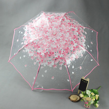 3 Fold Transparent Umbrella Flower Printed Rain Umbrella Female Transparent Rain Gear Sombrilla paraguas Rain Women Rain Tools(China)