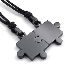 2pcs Mens & Womens Couples Stainless Steel Puzzle Pendant Love Necklace Set, Black Silver