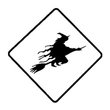 15cm*15cm Funny Witch Crossing Car Sticker Black/Silver Vinyl Car-styling Decal S6-4005(China)