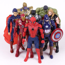 Marvel Super Heroes Iron Man Spiderman Captain America Thor Hulk Thanos PVC Action Figures Toys Gift for Boy 8pcs/set 16CM(China)