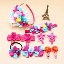 A Set of (11Pcs) Pure Chiffon Hairband Girl Headband Flower Elastic Hair Bands Rhinestone Hair bows Hair Clip Hair Accessories(China)