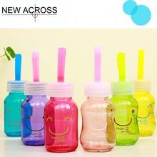 JUH 1Pcs Bright Smiling Face Small Bottle Cute Mini Portable Hand Bottle 145Ml Glass Leak Proof Water Bottle(China)