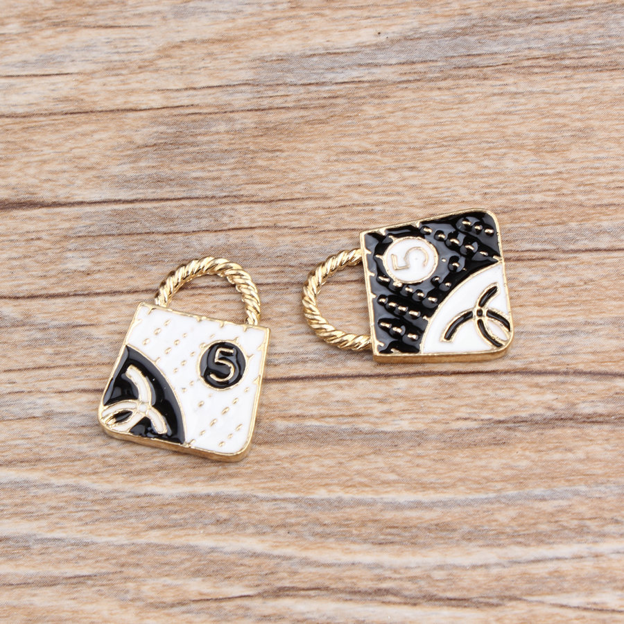 Diy Jewelry making 20pcs/lot mix Cartoon Handbags Shape Alloy drop oil gold-color Metal Charms necklace/Bracelet pendants