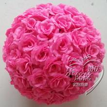 Hot Pink 20cm Rose kissing ball artificial silk flower wedding party red color wedding decorationsFree shipping(China)