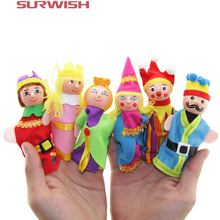 Surwish 6Pcs Soft Plush Fairy Tale Castle Story Finger Puppet Set Children Story Telling Helper Dolls(China)