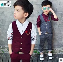 2pcs(Vest+Pants)2017 New Design Boy Wedding Suit England Style Gentle Boys Formal Tuxedos Suit Kids Spring Autumn Clothing Set(China)