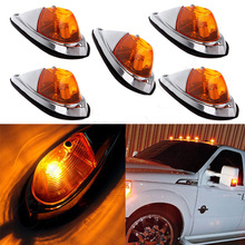 5pcs Universal Teardrop Amber Cab Roof Truck Semi trailer Clearance Marker Lights For F ord 4X4