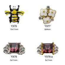 10pcs Bees 3d flowers rhinestones Square gems nail art ring YX76