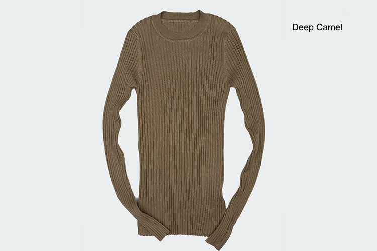 Women Sweater Pullover Basic Rib Knitted Cotton Tops Solid Crew Neck Essential Jumper Long Sleeve Sweaters Autumn Winter 17 16