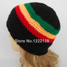 15pcs/lot New Arrival Jamaican Rasta Hat Tri-Color Handmade Knitted Crocheted Tam Beanie Cap Adult Size Black/Red/Yellow/Green(China)