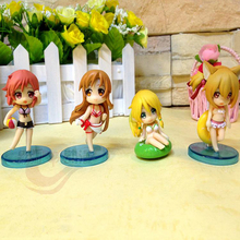 Sexy Anime Sword Art Online SAO Asuna Leafa Shirica Lisbet Swim Suit Q Version PVC Action Figures Collection Model Toys 4pcs/lot(China)