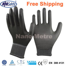NMSAFETY 13 Gauge black PU Work Gloves Palm Coated Working Gloves,Workplace Safety Supplies Protective Gloves(China)