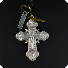 Orthodox Cross Pendant Leather Necklace Fashion Religious jewelry(China)
