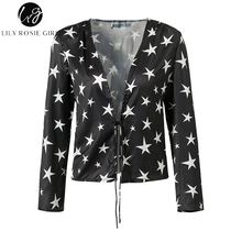 Lily Rosie Girl Sexy V Neck Lace Up Women Crop Shirts 2017 Autumn Stars Print Black Long Sleeve Short Blouses Lady Tops Shirt