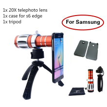 High-end 3in1 20x Optical Zoom Telephoto Telescope Lens Kit+Tripod Phone Cases Mobile Phone Camera Lenses For Samsung iPhone