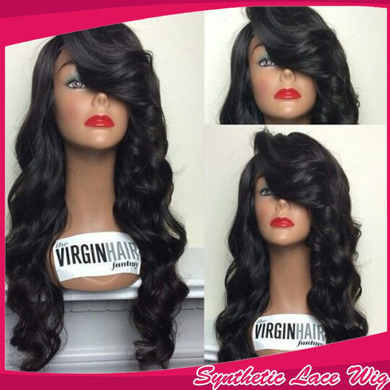 Top Quality Cheap Black Body Wavy Hair New Glueless Brazilian Synthetic Lace Front Wig Heat Resistant Fiber Wigs For Black Women<br><br>Aliexpress
