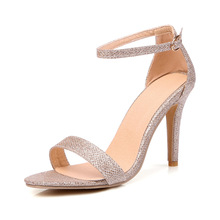 2017 New Hot Sales Sexy Black Gold Silver Women Sandals Fashion Rome High Heel Ladies Casual Shoes EM101 Plus Big Size 43 32 45