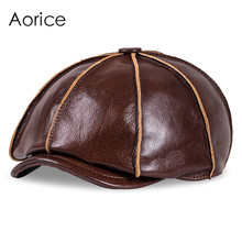 HL058 Real Genuine Cow Leather Hat Cap Headwear Headgear Cattlehide Cowhide Warm winter cotton padding(China)