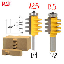 "1/2"", 1/4"" Shank Rail Reversible Finger Joint Glue Router Bit Cone Tenon Woodwork Cutter Power Tools"