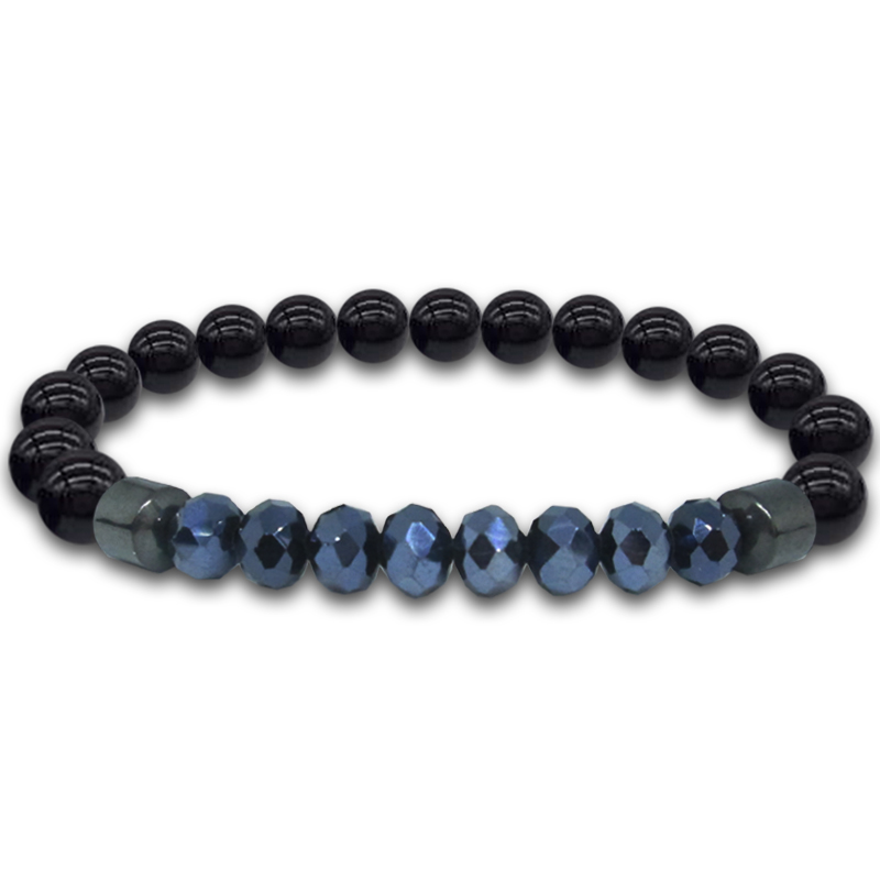Black Amethyst Bracelet Natural Stone Micro Crystal Magnet Hematite Obsidian Cubic Zirconia Fashion Jewelry For Men Wrist Band