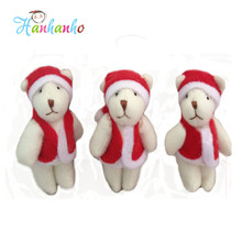 Wholesale 50pcs/Lot 6cm Mni Joint Teddy Bear Christmas Tree Decorations Toy X'mas Decoration Supplies
