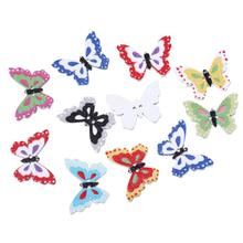 "DoreenBeads Wood Sewing Button Scrapbooking Butterfly At Random 2 Holes 25.0mm(1"")x 18.0mm( 6/8""),9 PCs 2016 new"