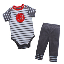Clearance Price Baby 2-Piece Summer Set Infant Bodysuit + Pants Boys Suit Kids Outfit 100% Cotton Child Suits Clothes
