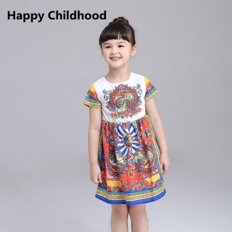 2016 Summer Brand Vintage Girls Dresses 1pc children girls clothes 3-13Y short sleeves girls dress<br><br>Aliexpress