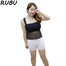 Women Lace Camisole Fat MM Girl Anti-light Cropped Long Tank Top Black White Tube Tops Plus Sleeveless Vest Size XXXL 8AJQ205(China)