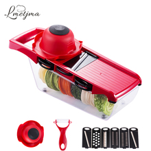 LMETJMA Mandoline Slicer Vegetables Cutter with 5 Stainless Steel Blade Carrot Grater Onion Dicer Slicer With Container LK0728G(China)
