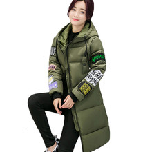2016 New Mujer Winter Jacket Women Pattern Parkas Larger Size Slim Fashion Middle Long Padded Jacket Coats Female LH432