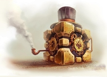 smoke steampunk clocks companion cube tophat artwork aperture laboratories pipes 4 Sizes Home Decoration Canvas Poster Print