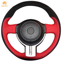 MEWANT Red Genuine Leather Black Suede Car Steering Wheel Cover for Toyota 86 Subaru BRZ(China)