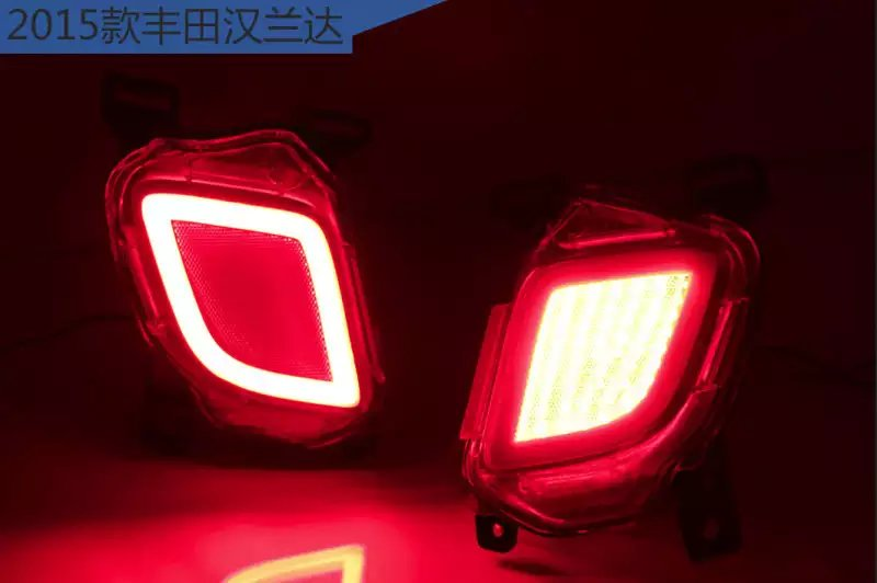rear fog lamp + running light + turn signals + brake light for toyota highlander 2015, bumper reflector<br><br>Aliexpress