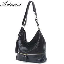 Arliwwi Brand Functional 100% Real Cow Leather Messenger Bags For Women Shiny Embossed Serpentine Pattern Big Shoulder Handbags