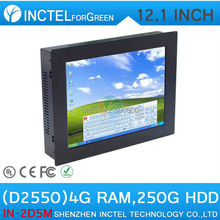 12 inch TouchScreen Mini PC Computer All IN ONE PC Five wire Gtouch using high-temperature ultra thin panel with 4G RAM 250G HDD