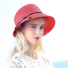 FS Large Brim Beach Women Sun Straw Hat Floppy Fedora Female Elegant Red Pink Blue Cap Folding Hats(China)