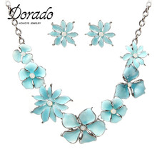 Dorado Top hot sale fantastic blue enamel flower shaped choker collar necklace set bridesmaid jewelry set(China)