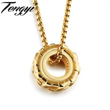 TENGYI Punk Wheel Pendant Men Necklaces Fashion Vintage White/Black/Golden Car Tires Design Men Jewelry Necklace Gifts TY1169
