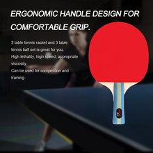 Short Or Long Handle Shake-hand Table Tennis Set 2 Rackets + 3 Table Tennis Balls Ping Pong Paddle Table Tennis Racket RZ2501(China)
