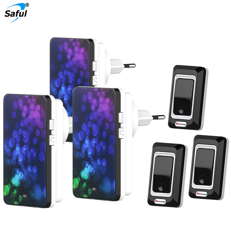 Saful Free Shipping EU/US/AU/UK Waterproof Push Button Wireless Doorbell 3 Outdoor Transmitters + 3 Indoor Receivers<br>