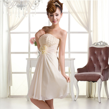 champagne elegent short a-line formal prom dress teens dresses cheap chiffon prom dresses 2017 under $50 for party H1319