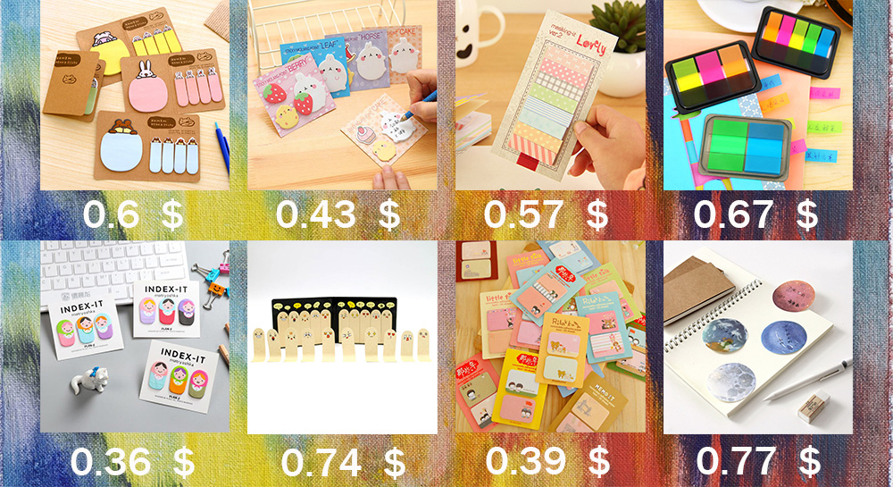 3PCS Self Adhesive Memo Pad Sticky Cute Candy Color Sticky Notes ...