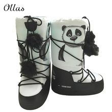 Panda printing woman snow boots winter brand boot high women boots platform boats OYS019