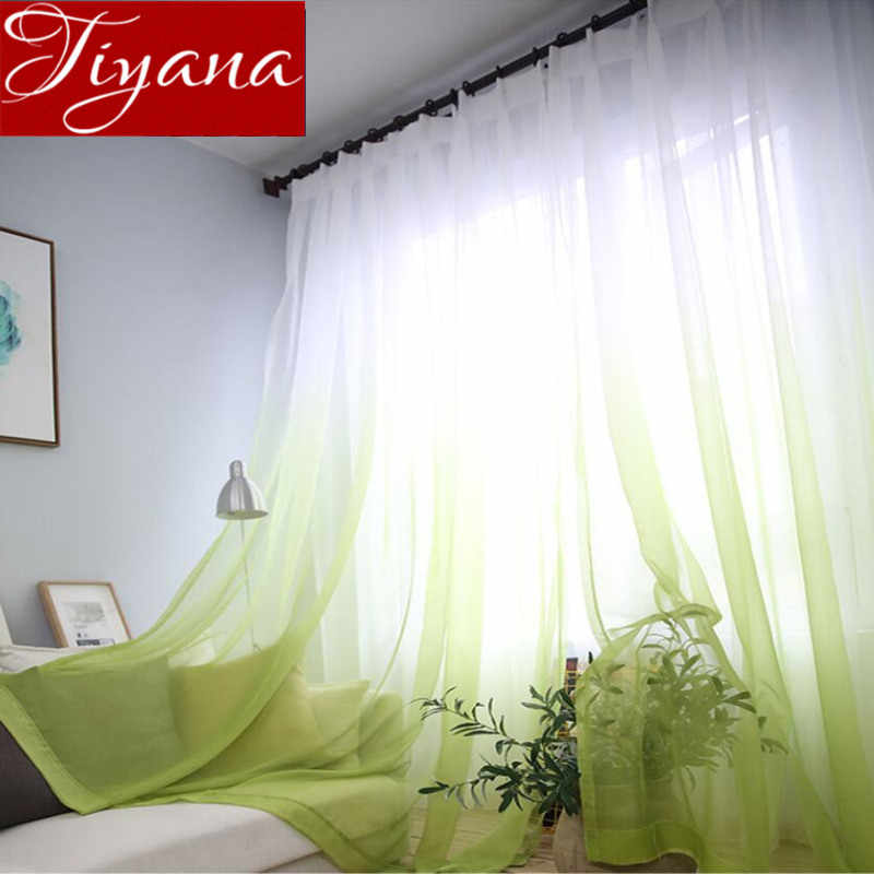 Gradient Color Window Curtain for Living Room Sheer Fabric kitchen Green Tulle Drape Gray Voile Curtain White Treatment T&185#30