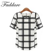 OL Style Women Black and white grid printed shirts women short shirts Round Neck batwing sleeve ladies chiffon Shirt