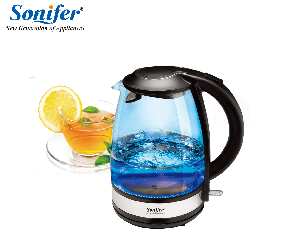 1.7L Colorful Electric Kettle Glass 2200W Household Quick Heating Electric Boiling Pot Sonifer<br>