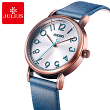 New Womens best quality leather antique wristwatch women fashion casual quartz watch Girl Anolog round hour Top brand Julius 911(China)