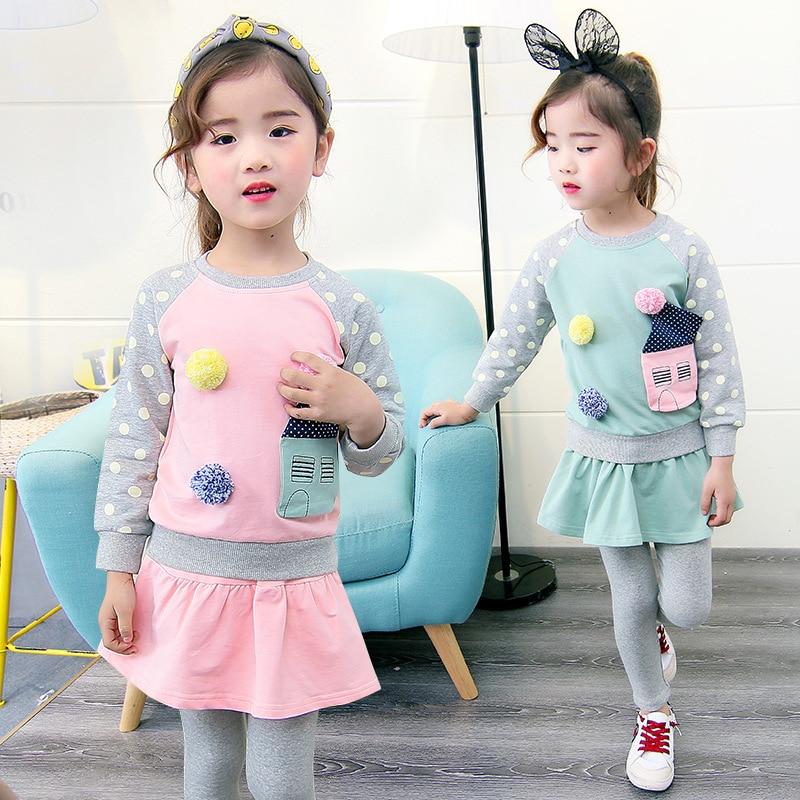 2018 New Girls Suit Kids Teens Clothes Set Spring Wear Long Sleeve Sweatshirts + Skirts Leggings 2pcs Set 6 7 8 9 10 11 12 Years<br>